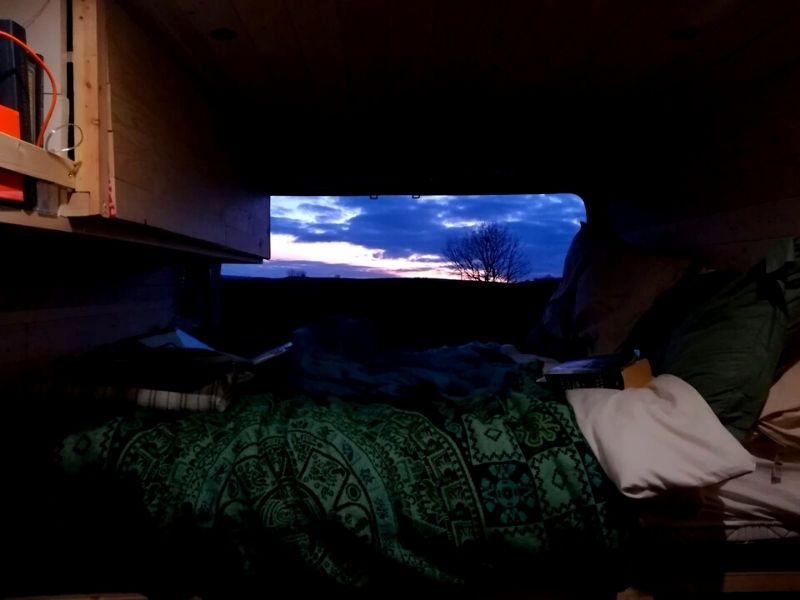 Sleeping to the Sunset in a Caravan