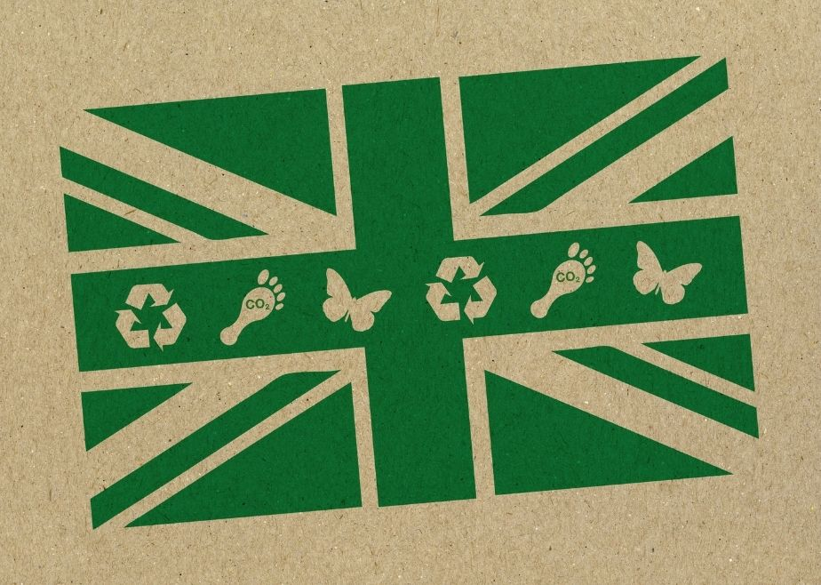 UK flag symbolising being environmentally friendly including green home building